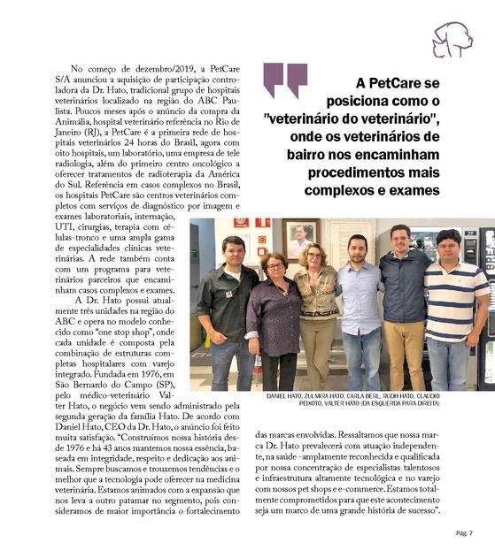 15769362403817 normal 1 - Revista Vet & Share- Pet Care anuncia aquisição da rede de hospitais Dr. Hato